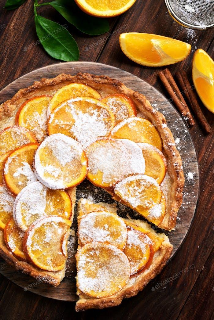 Orange pie, top view