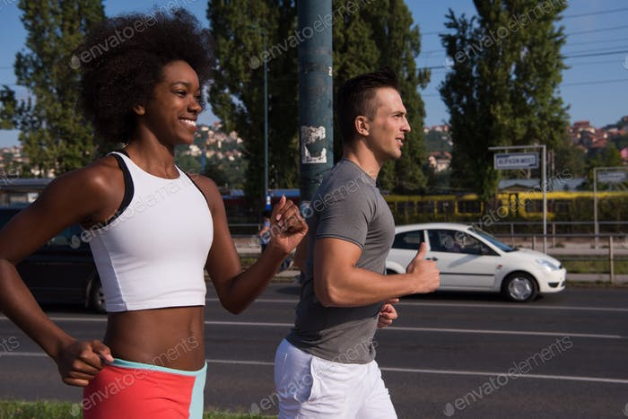 Thumbnail for multiethnic group of people on the jogging
