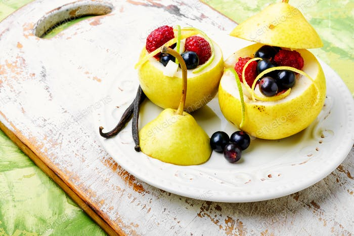 Pear with berry stuffing