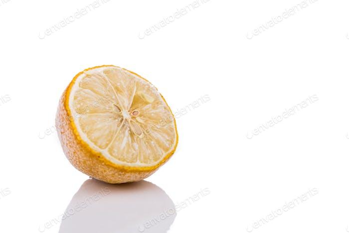 Frozen lemon isolated in white background