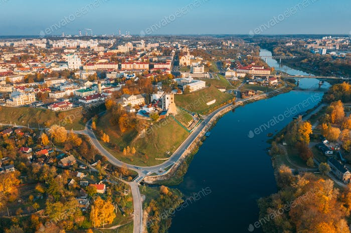 Grodno, Belarus. Aerial Bird's-eye View Of Hrodna Cityscape Skyline. Famous Popular Historic