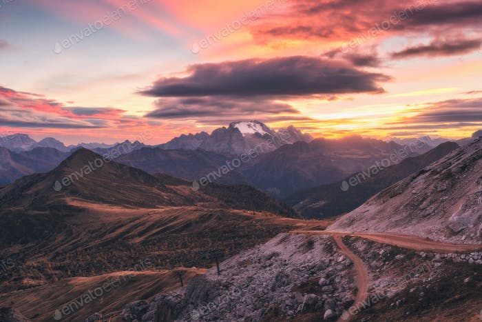 Mountains at beautiful sunset in autumn in Dolomites, Italy