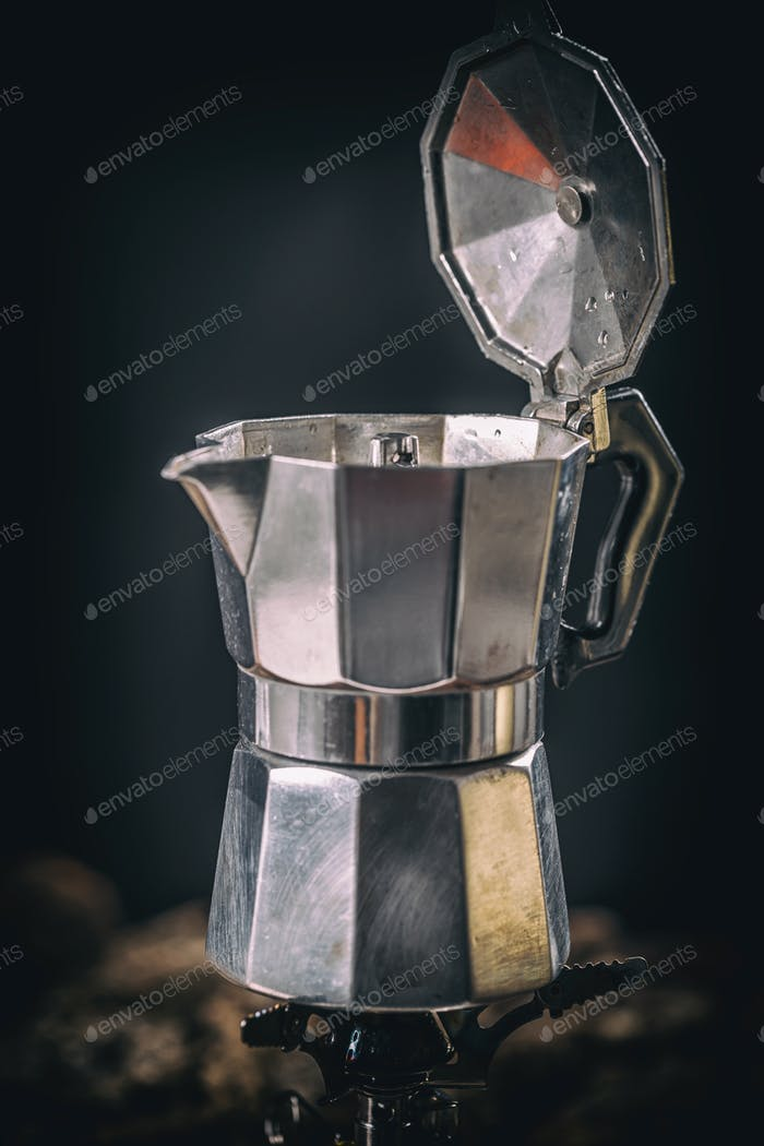 Moka coffee pot on stove