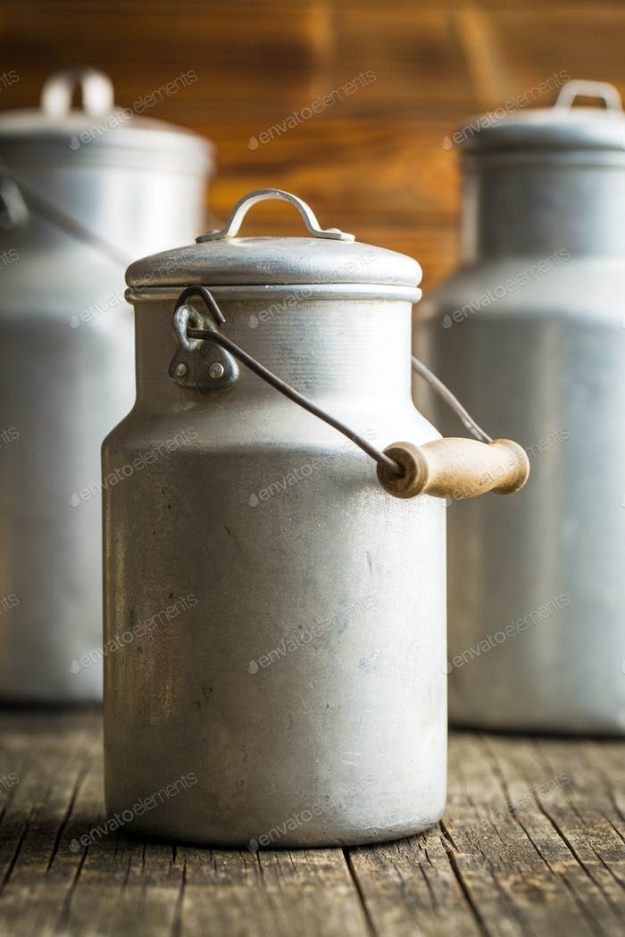 Aluminium milk can.