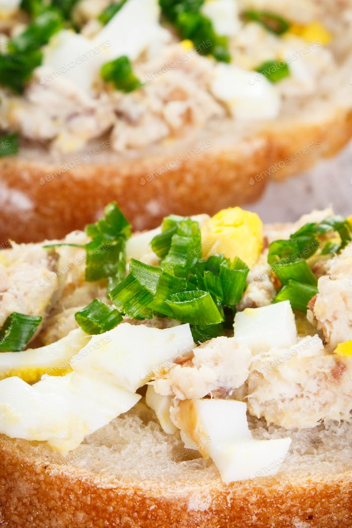 Closeup of baguette with fresh mackerel or tuna fish paste, healthy nutrition concept