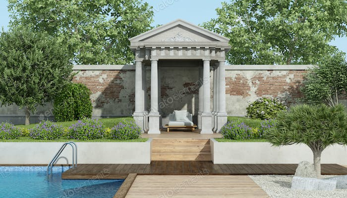 Luxury garden with little neoclassical temple and pool