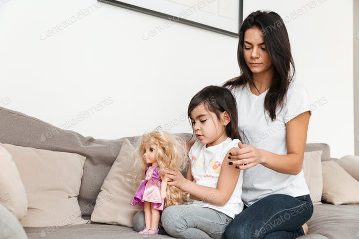 Portrait of gorgeous family mother and child spending time toget