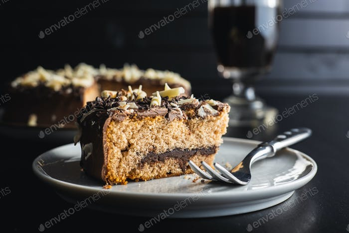 Sweet chocolate pie. Cake with chocolate sprinkles.