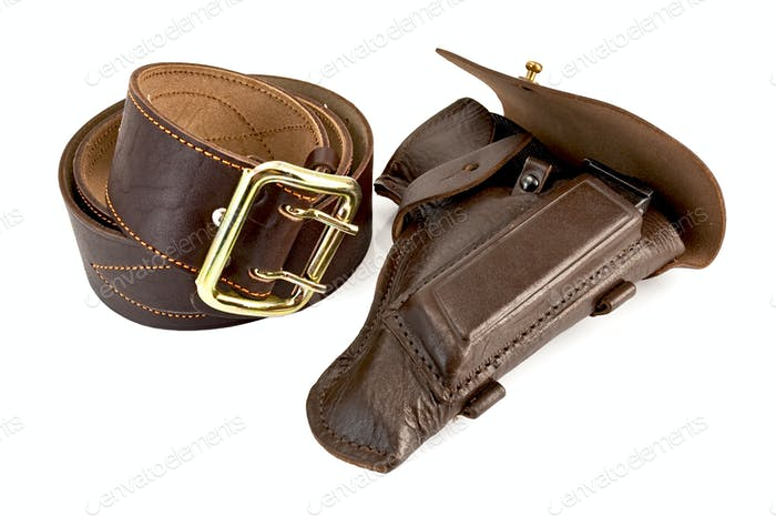 Brown belt and holster