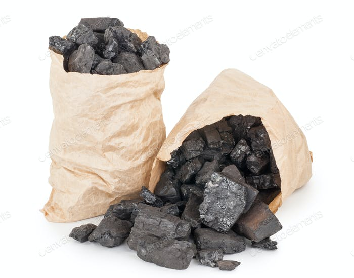 Paper bags with coal