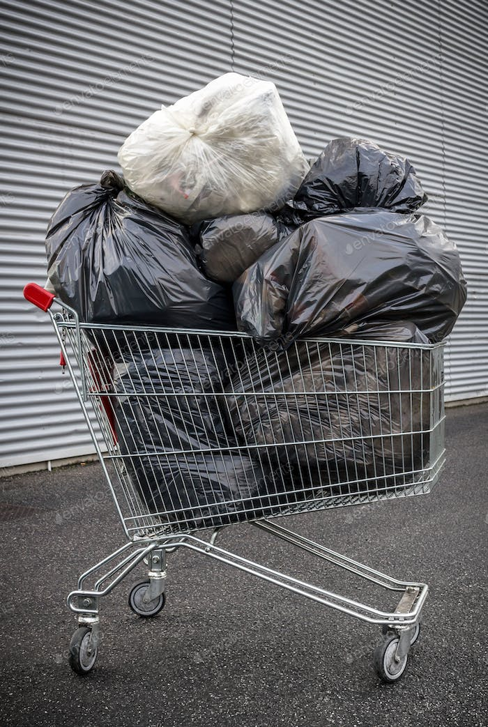 Shopping cart with garbage bags