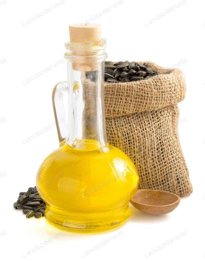 sunflower oil and seeds in bag on white
