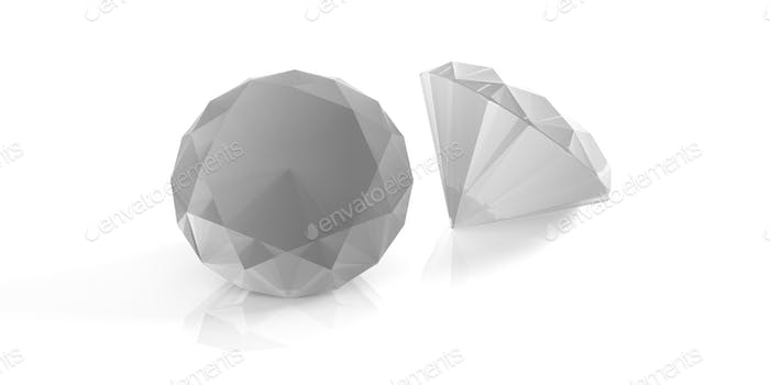 Diamonds isolated on white. 3d illustration