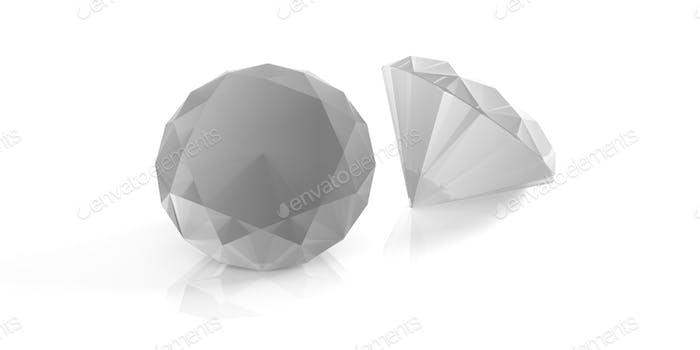 Diamanten isoliert auf weiß. 3D Illustration