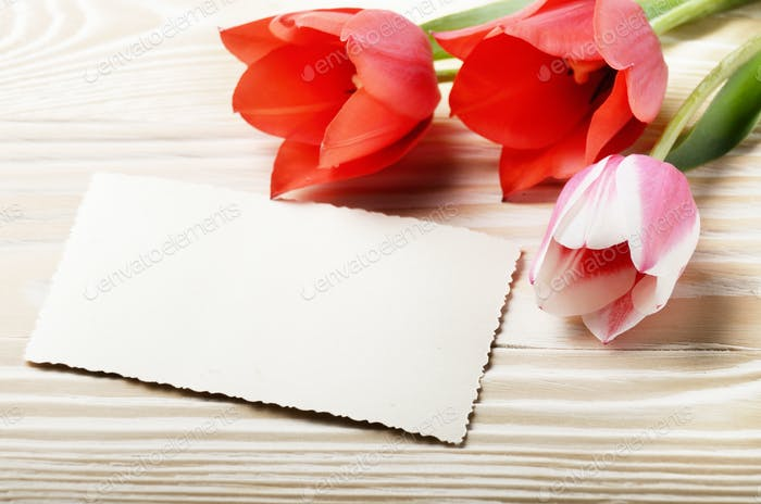 Red and pink tulips and blank greeting card on natural wooden ba