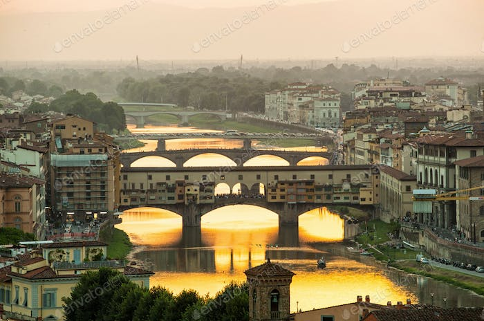 Ponte Vecchio enlighten by the warm sunlight, Florence.
