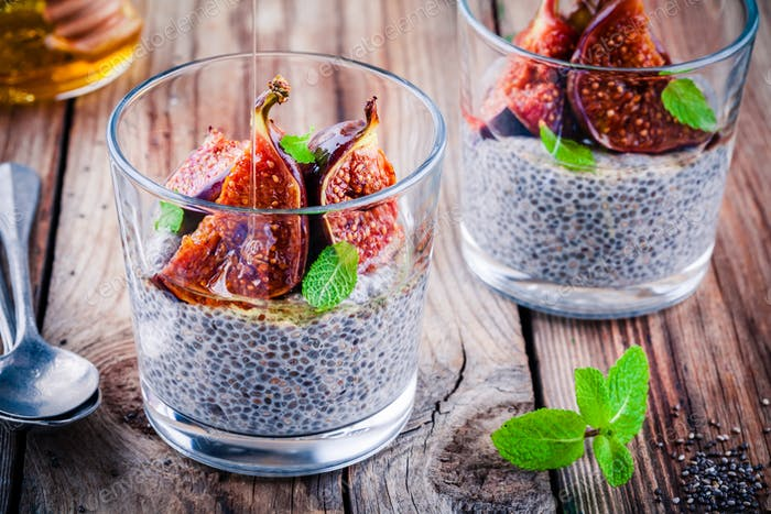 Chia seed pudding with baked figs, honey and mint