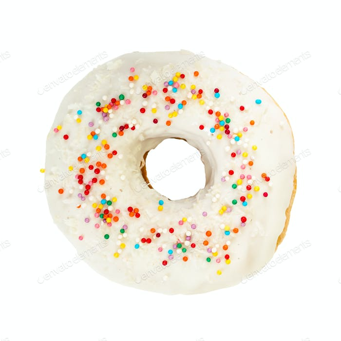 Donut with white icing and colorful decoration