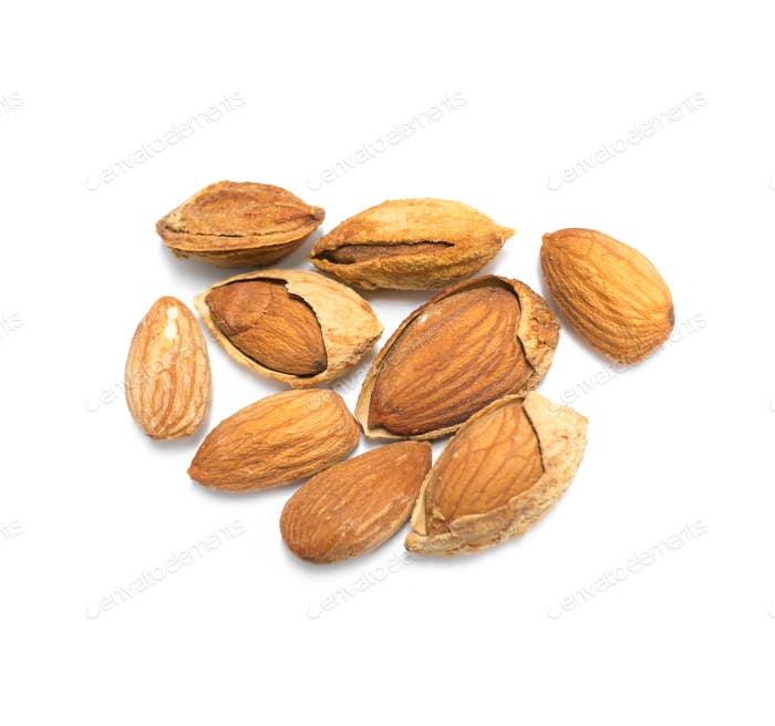 Cracked almond nuts isolated on white background