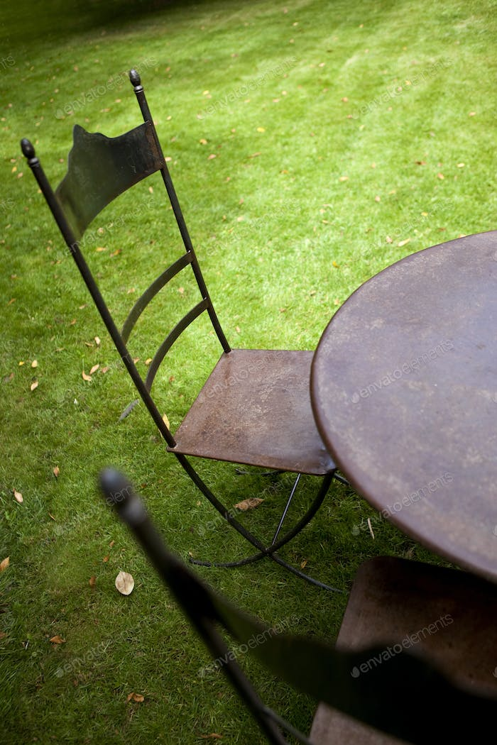 Garden furniture on grass