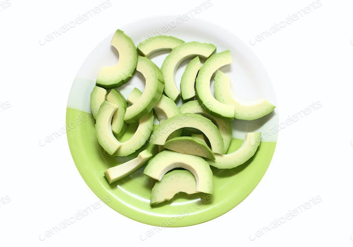 Avocado cut into slices on a plate