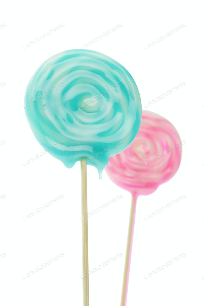 Close up of Lollipop isolated on white