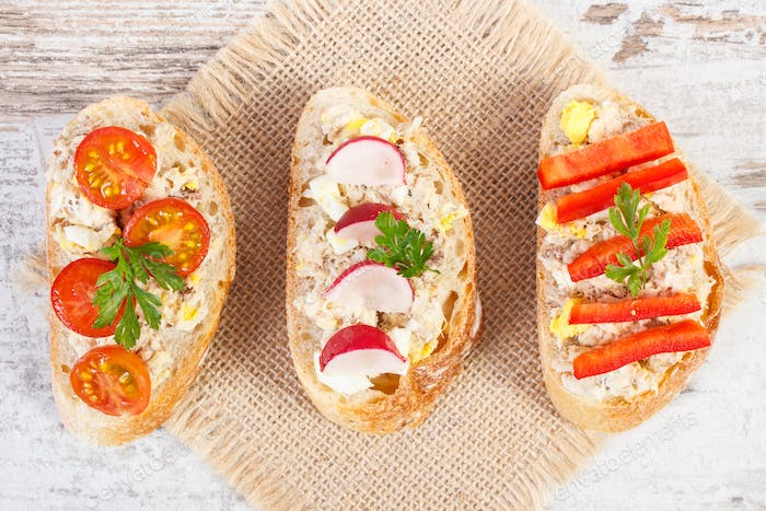 Sandwiches with mackerel or tuna fish paste, healthy nutrition