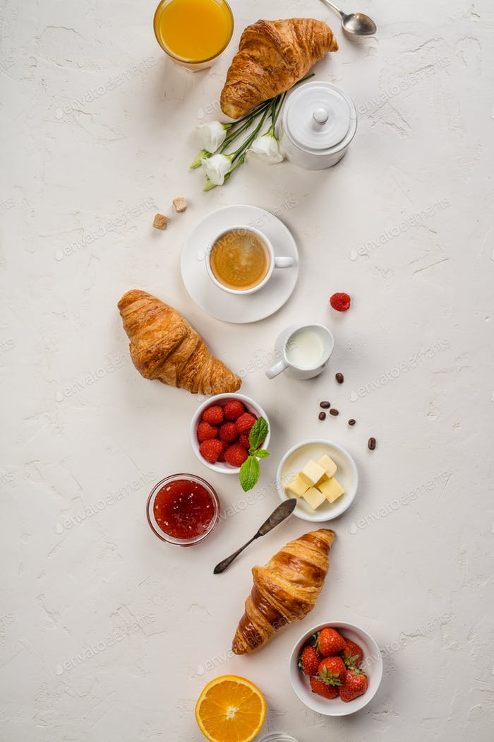 Continental breakfast captured from above, flat lay, top view