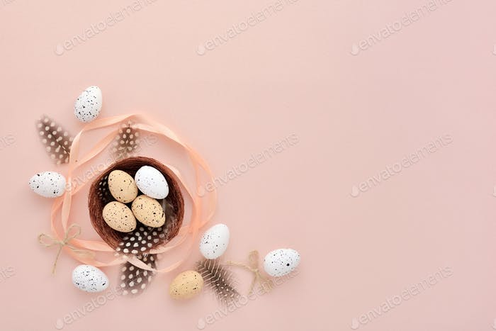 Festive easter background with eggs with empty space for your gr