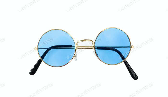 Golden frame sunglasses with blue lens isolated on white background, top view