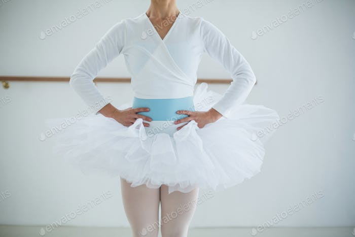 Mid section of ballerina standing in the ballet studio
