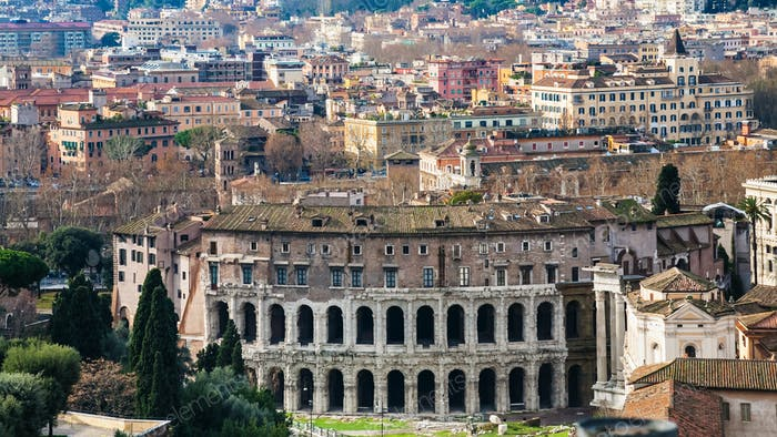 Rome city with ancient Theatre of Marcellus