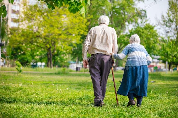 Senior couple walking outdoors in spring