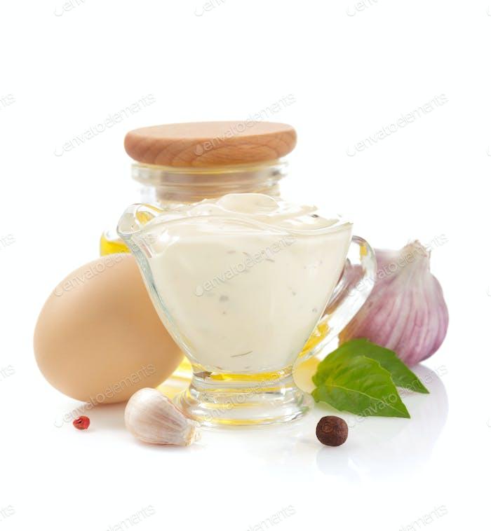 mayonnaise sauce on white background
