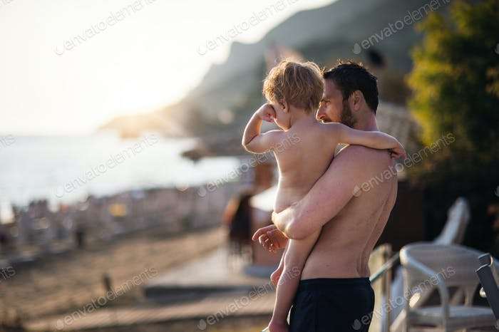 A father holding a toddler boy on beach on summer holiday. Copy space.