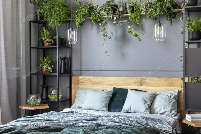 Grey pillows on wooden bed in dark bedroom interior with lamps a