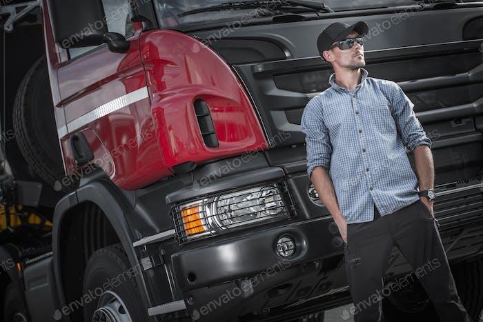 Semi Truck Caucasian Driver