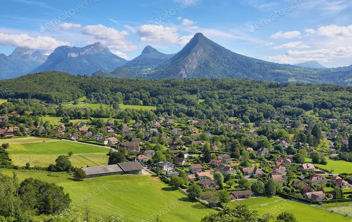 Scenic view of mountains and scattering houses from Menthon castle in Haute-Savoie
