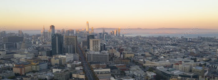 Sunset Aerial View San Francisco Downtown Urban Building Skyline
