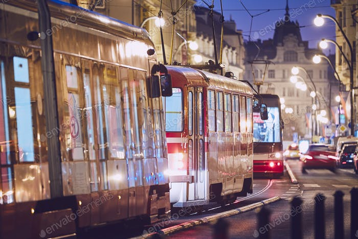 Tram in traffic jam