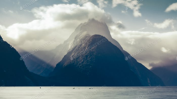 Milford sound peak at sunset in cold tones, New Zealand