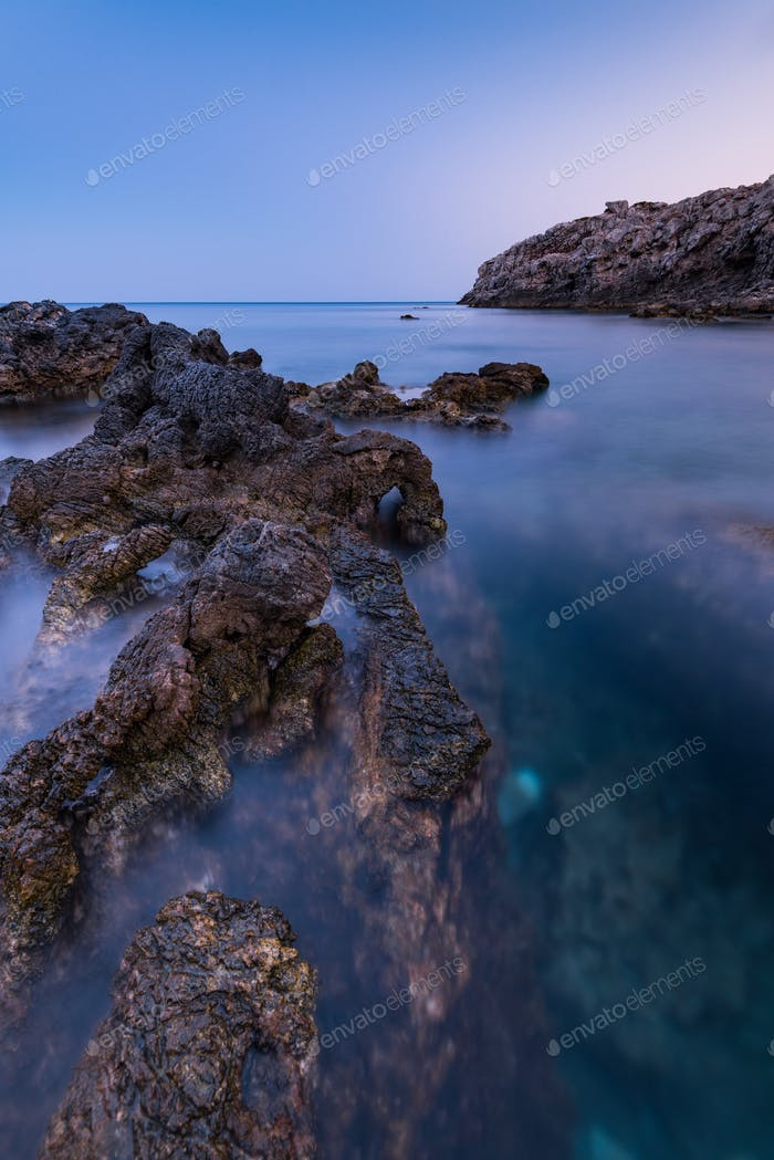 Dramatic Rocks in Mediterranean Sea, Long Exposure Sunset,Greece