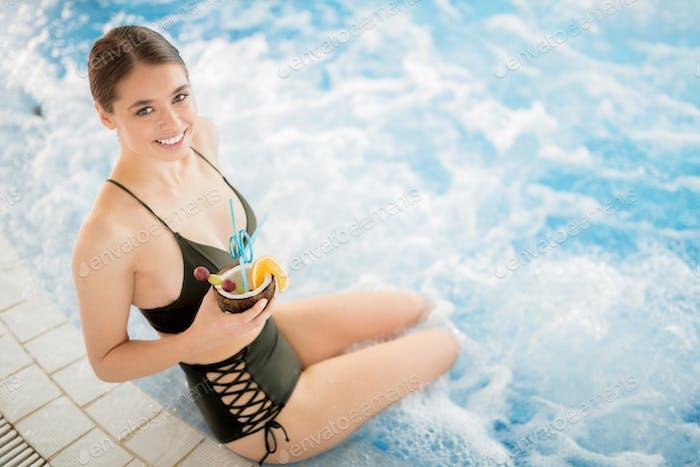 Girl with pina-colada