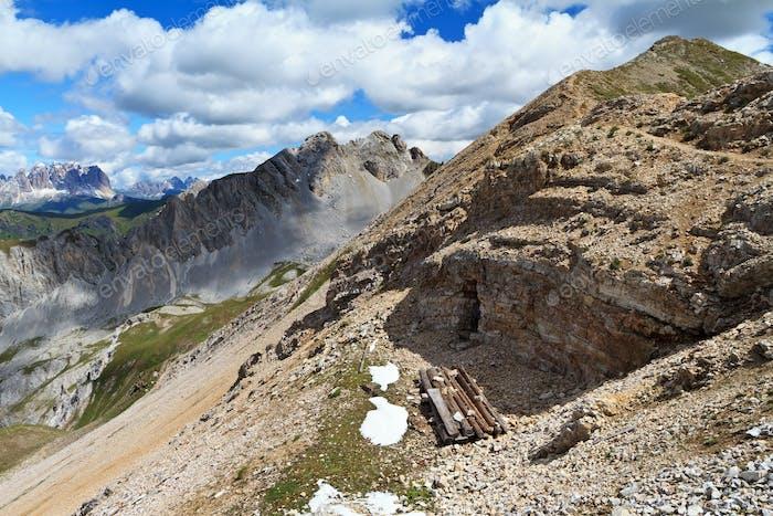 war ruins in Dolomites