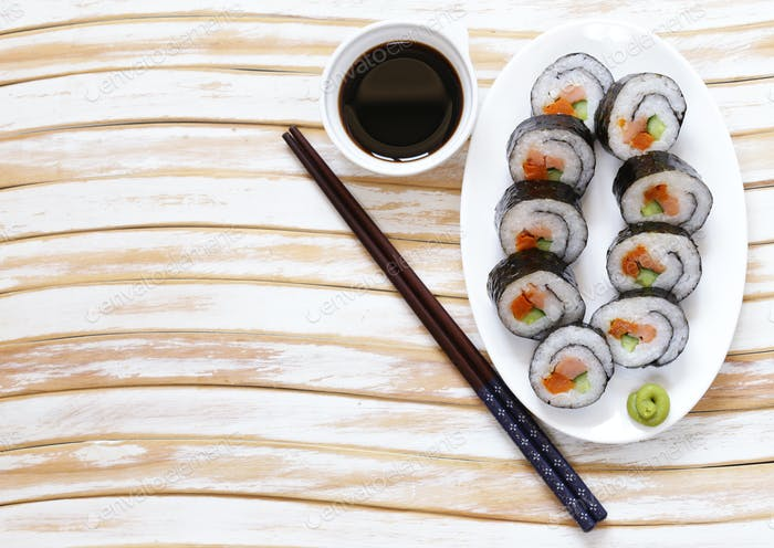 Korean Rolls Kimpab With Soy Sauce - Asian Food
