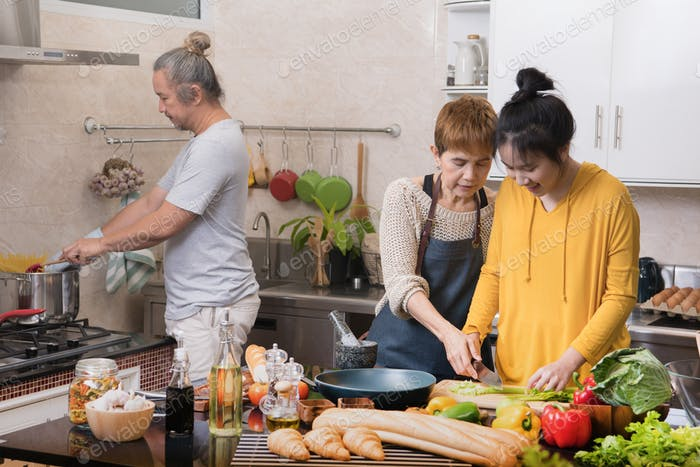 Family cooking in the kitchen together