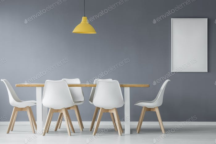 Mockup in grey dining room