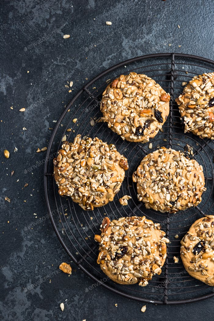 Homemade healthy cookies with seeds and nuts