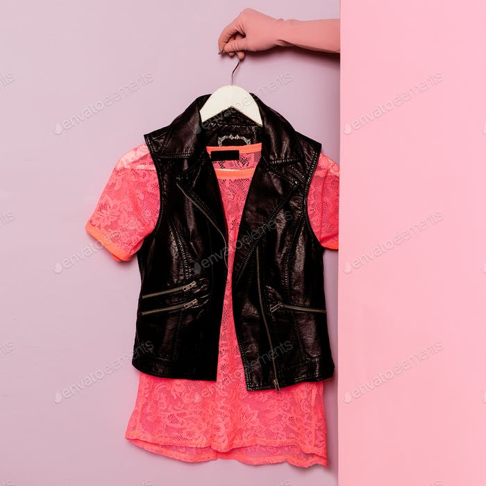Stylish clothes. Pink lace t-shirt and vest. Minimal fashion. Wa