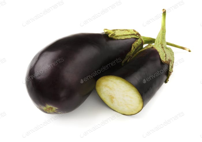 Ripe fresh eggplants isolated on white background